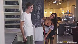 Buddy Hollywood is about to fuck his smoking hot maid, August in the ass, until she cums