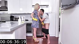 Insatiable, blonde maid with big boobs, Kit Mercer is often having sex instead of doing her job