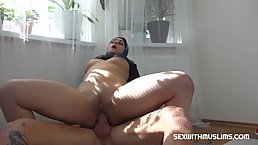 Insatiable Muslim lady is sucking her lover's dick and getting fucked, while her husband is working