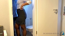 Married woman is getting fucked in the toilet, while having a lunch break at work