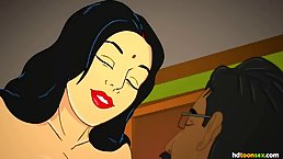 Cartoon, Indian woman is eager to get fucked hard from the back, until she cums