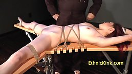 Nude, Asian brunette, Leah Hart got tied up the other day and enjoyed it a lot