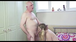 Pigtailed blonde chick is having casual sex with an older man from the neighborhood, just for fun