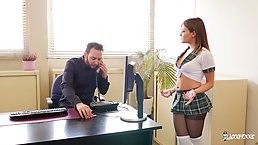 Mina Sauvage is having anal sex with a principal and enjoying every single second of it